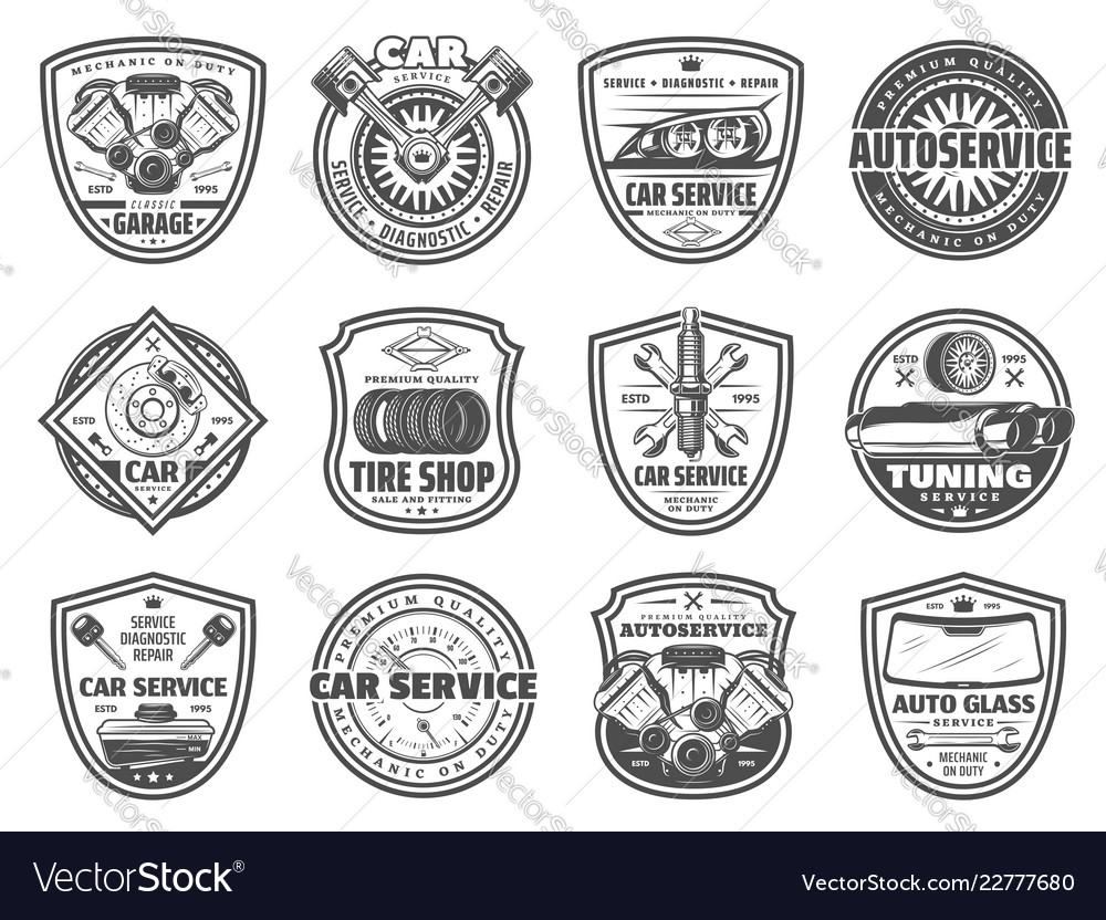 Spare parts car service and garage station icons