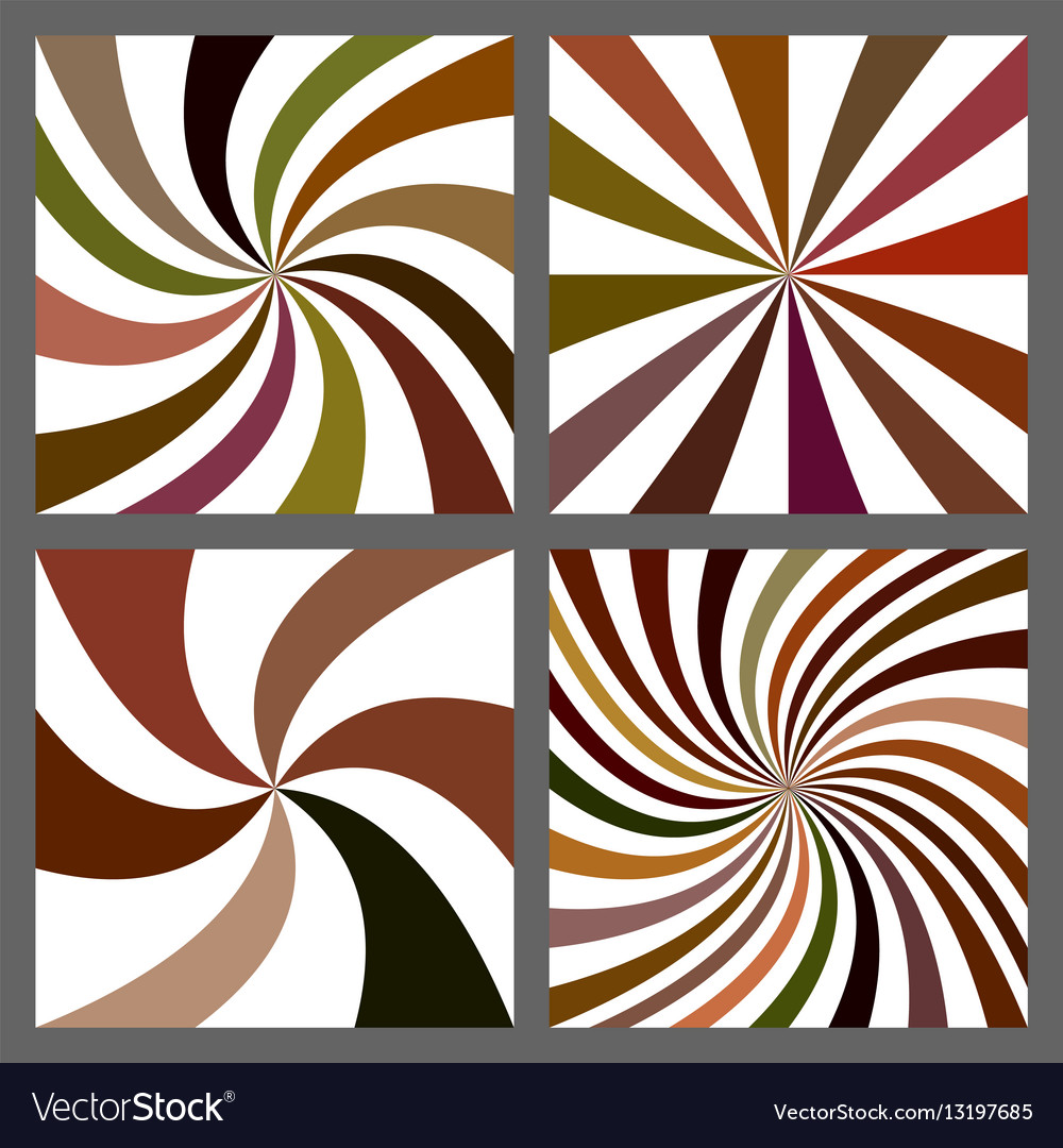 Abstract spiral and starburst background set vector image