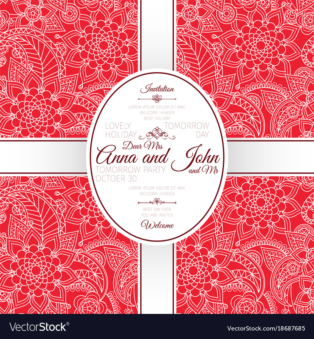 Card with red indian paisley pattern