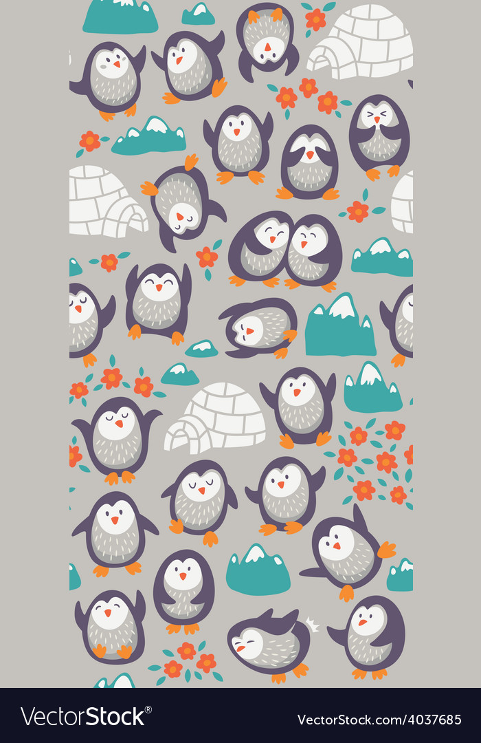 Cartoon seamless pattern with cute penguins