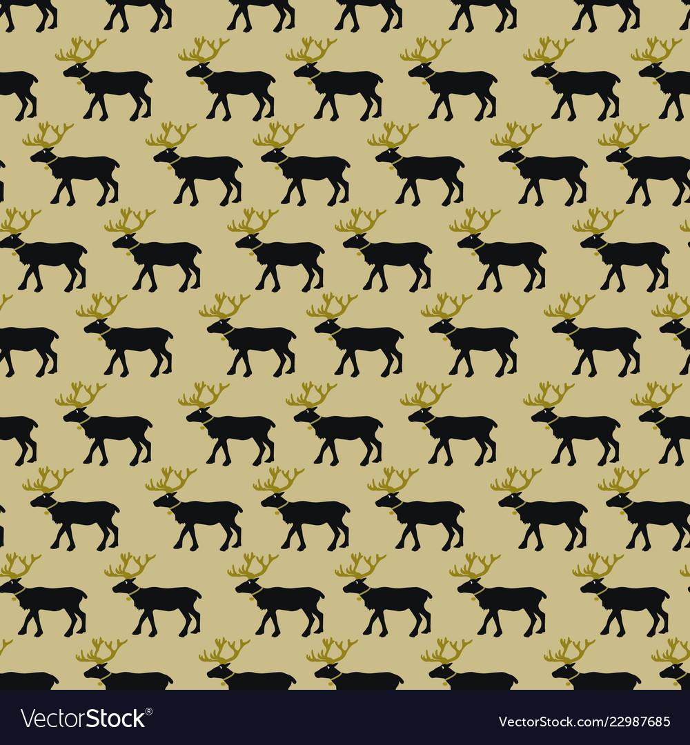Christmas seasmless pattern with black and golden