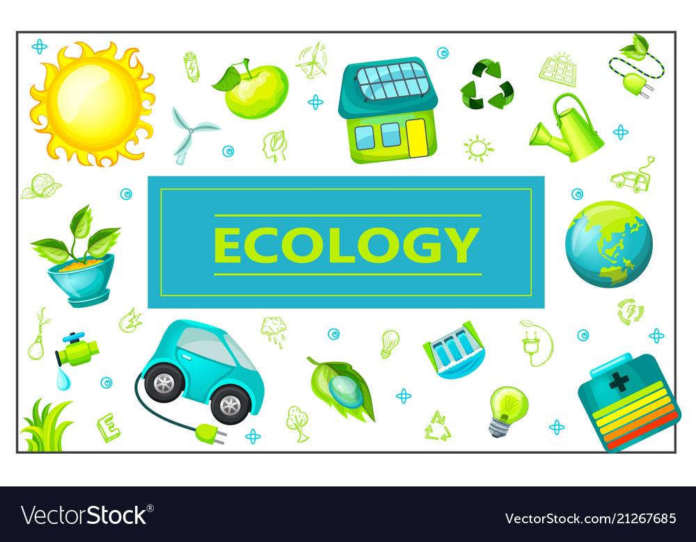 Flat green ecology rectangular concept