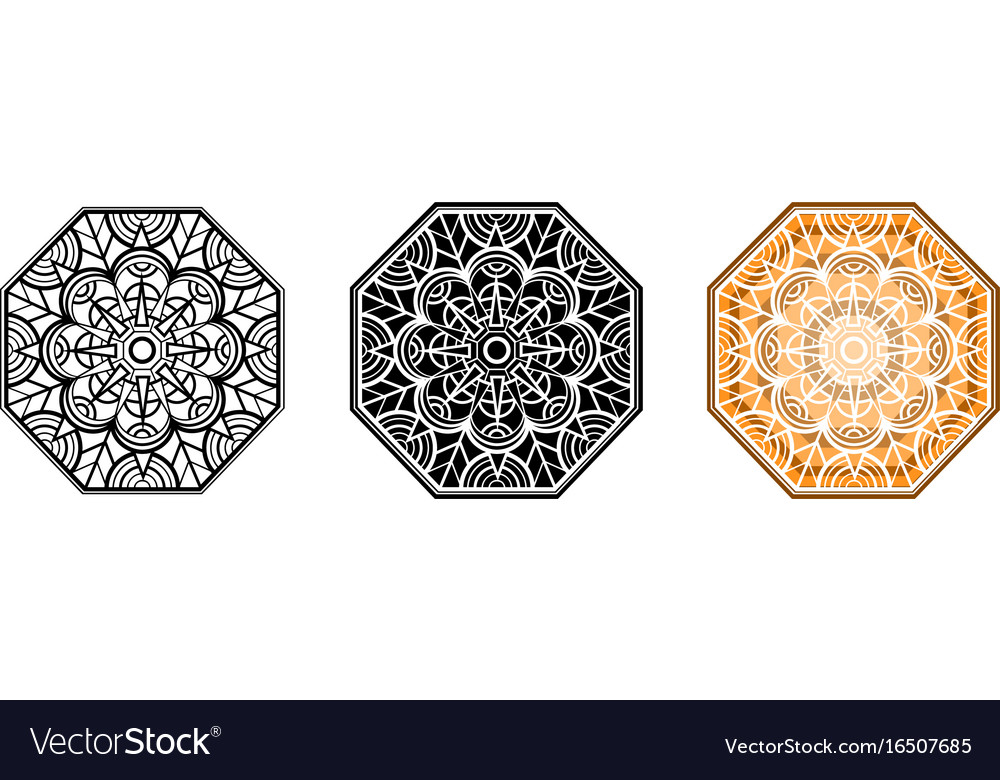 Floral mandala for coloring book and your design