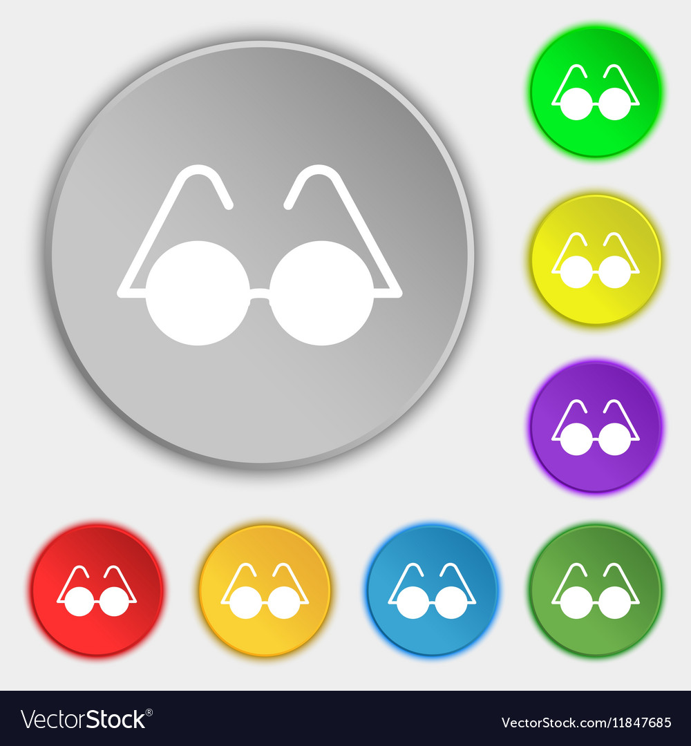 Glasses icon sign Symbol on eight flat buttons vector image