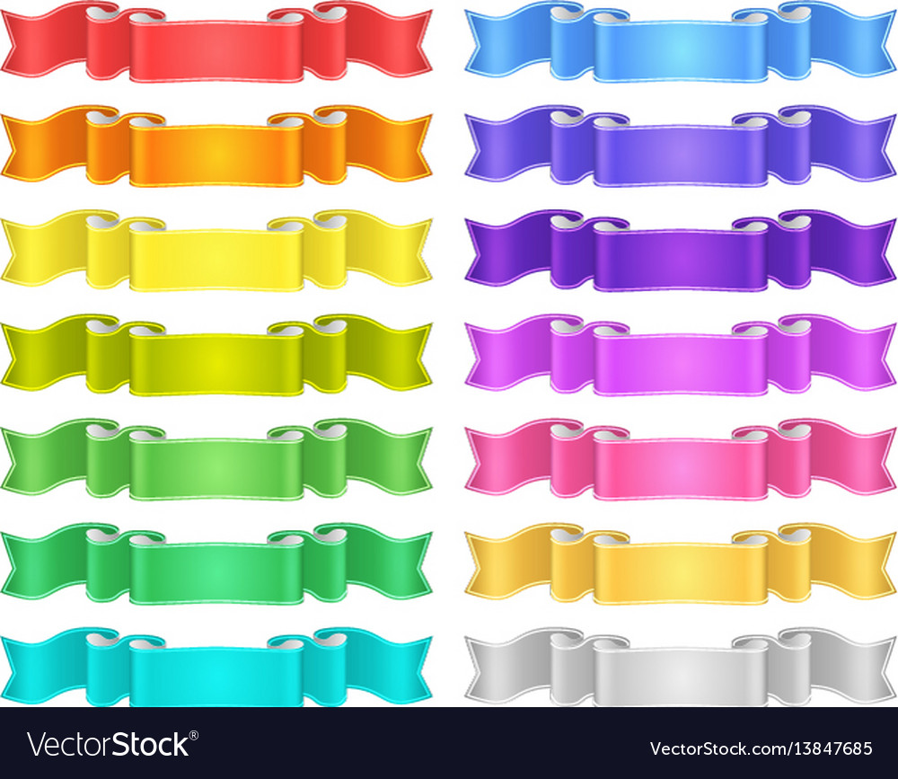 Isolated colored satin ribbons set