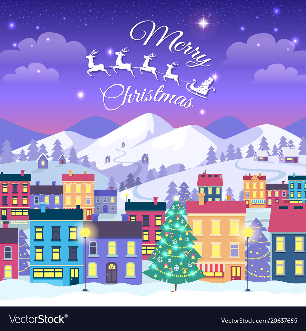 Merry christmas and happy new year town in winter