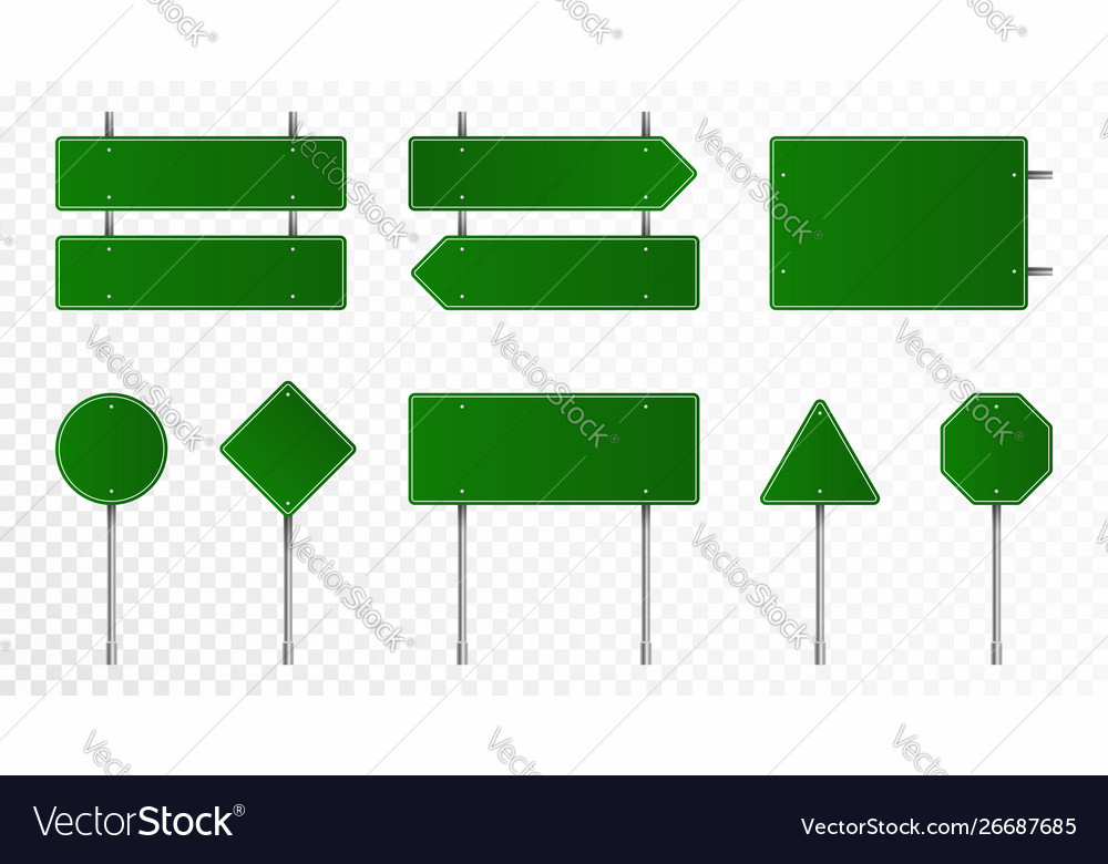 Set green road signs blank traffic signs