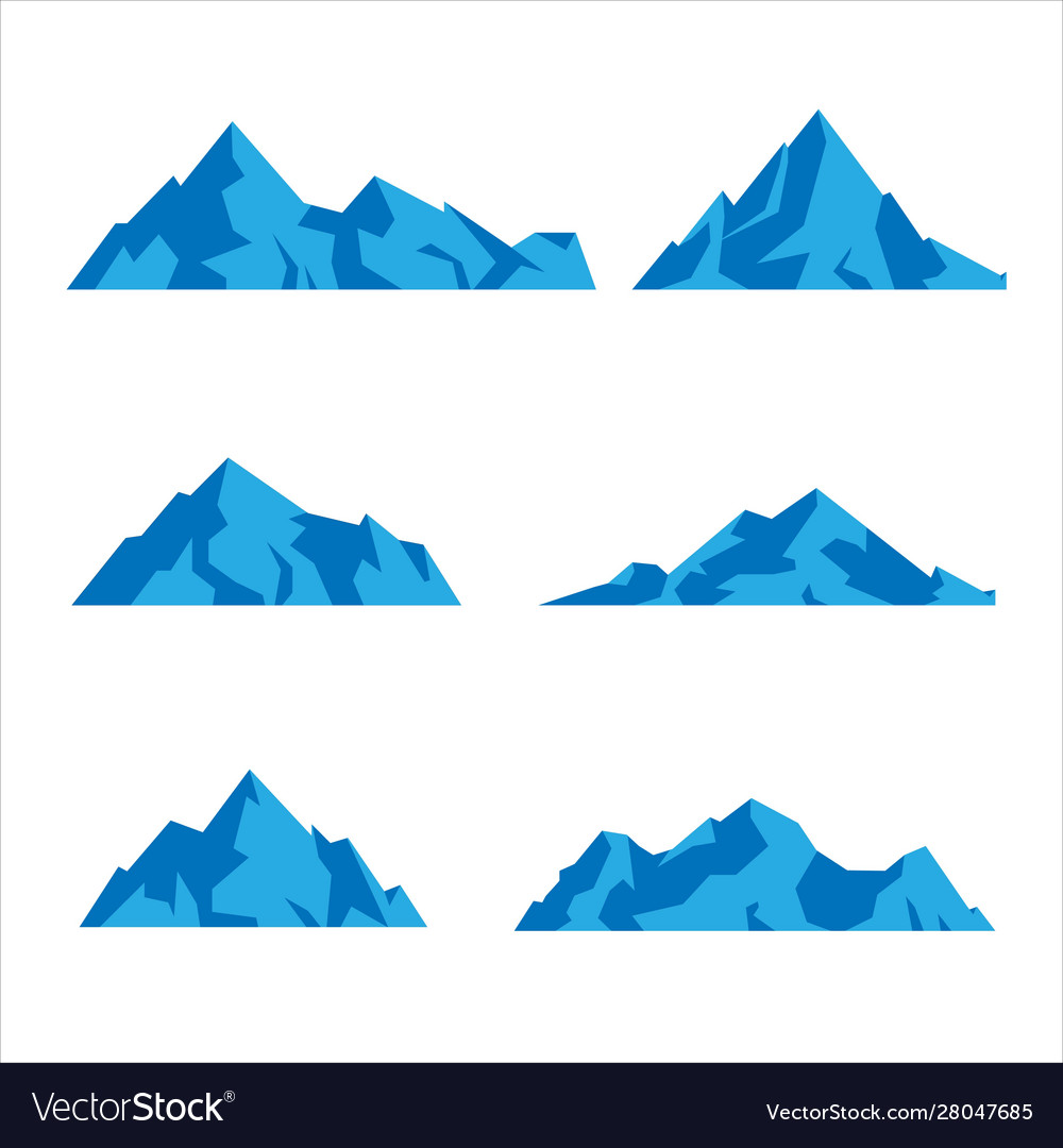 Set mountains shapes icon in various different