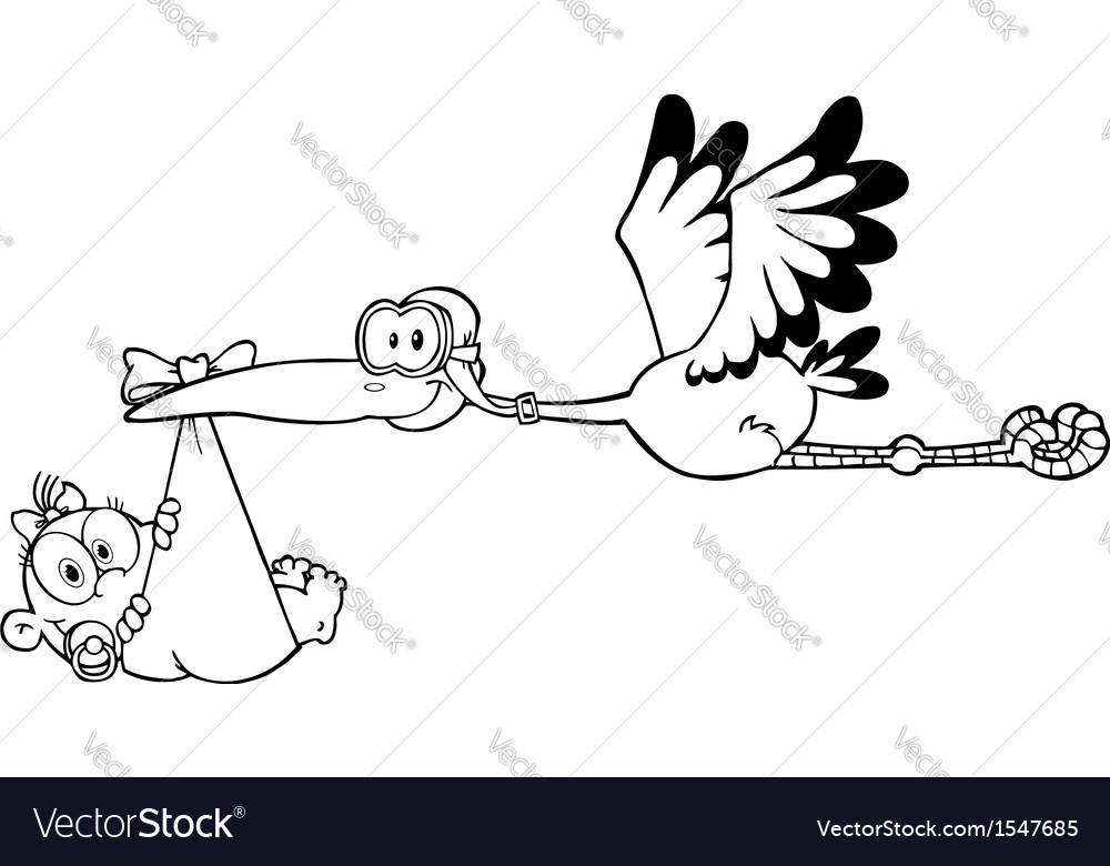 Stalk holding baby cartoon