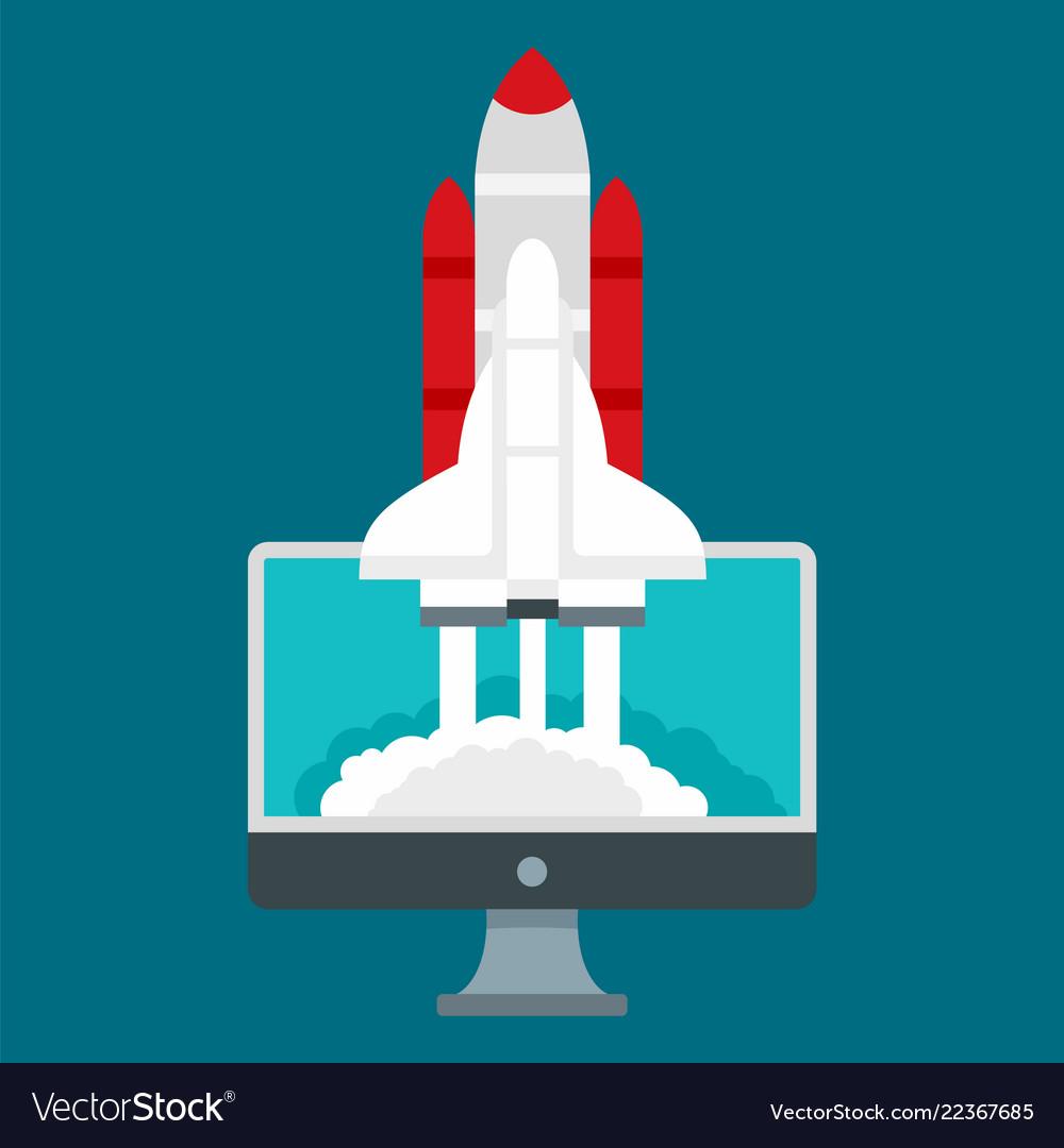 Start up rocket icon flat style