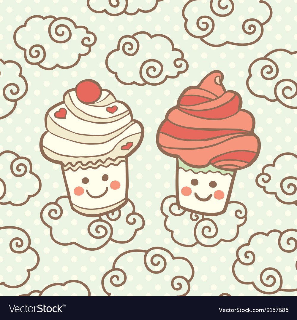 Two cute smiling cupcakes on clouds