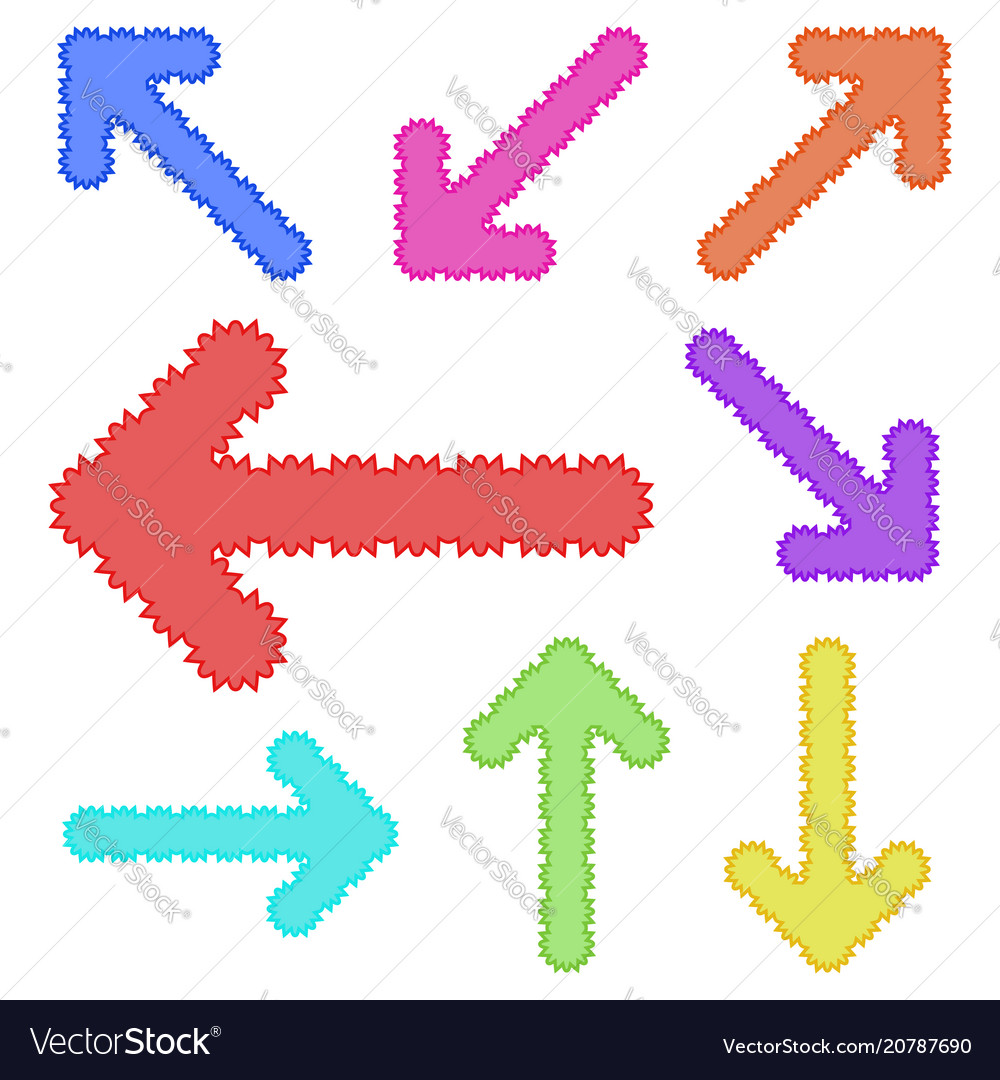 A set of unusual arrows of bright color simple