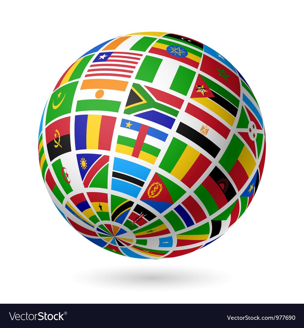 African flags globe