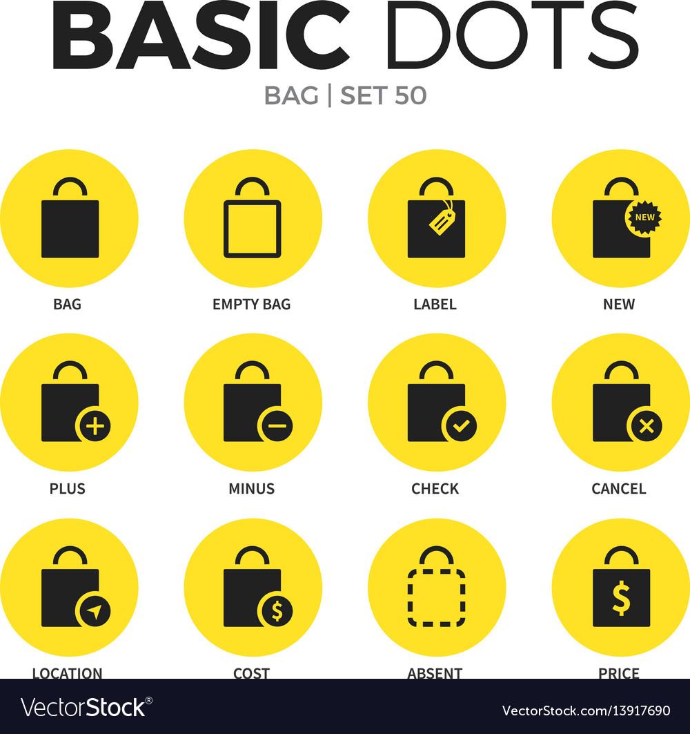 Bag flat icons set
