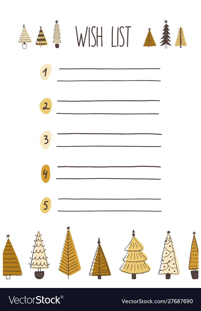 Christmas wish list hand drawn