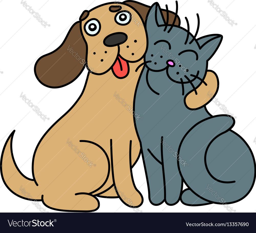Cute dog hugs cat