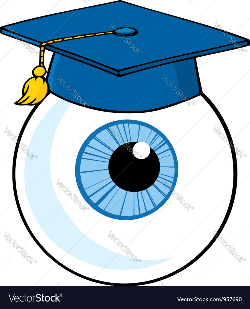 Eye Ball Cartoon Character With Graduate Cap
