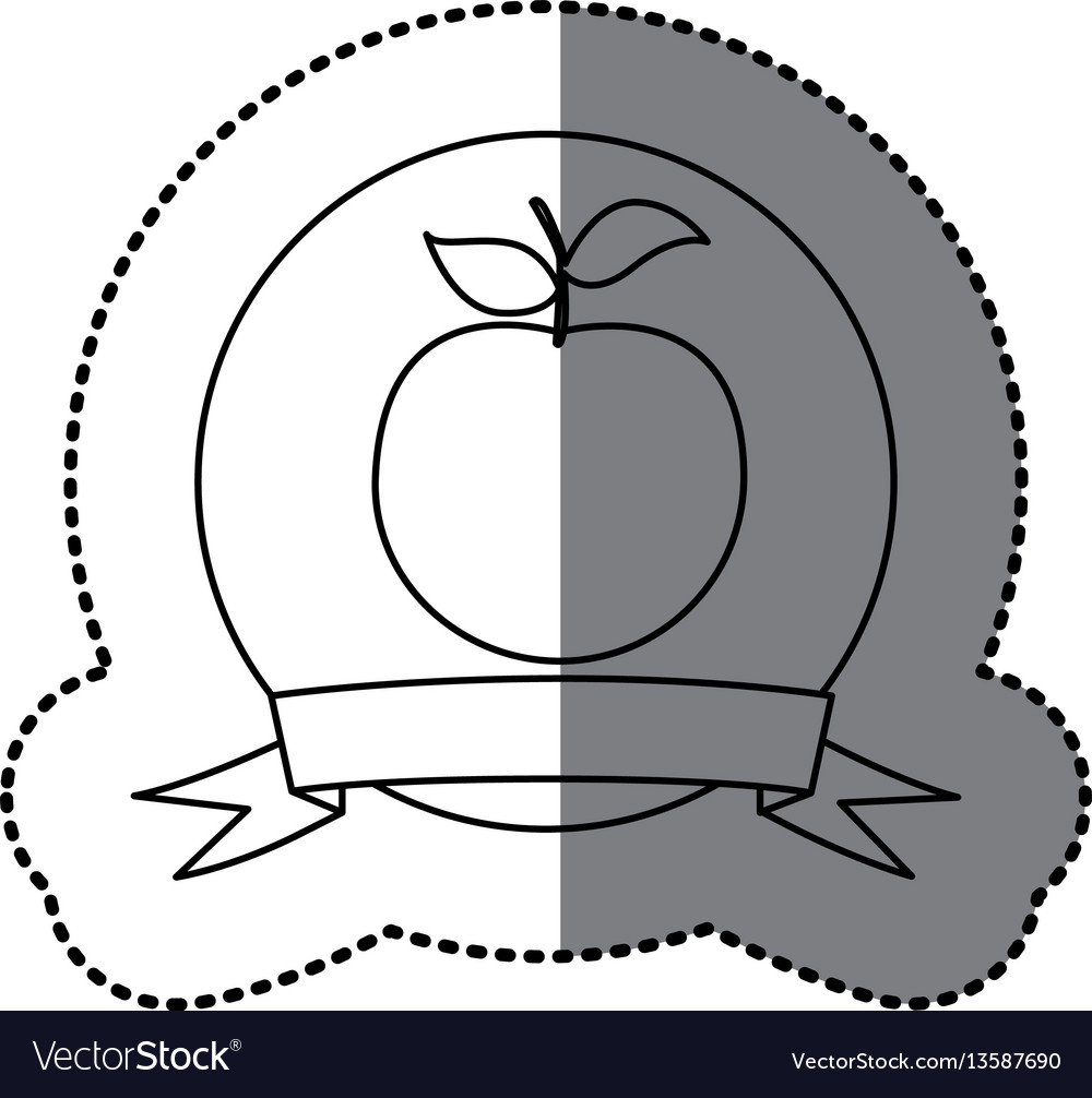 Figure emblem apple fruit icon vector image
