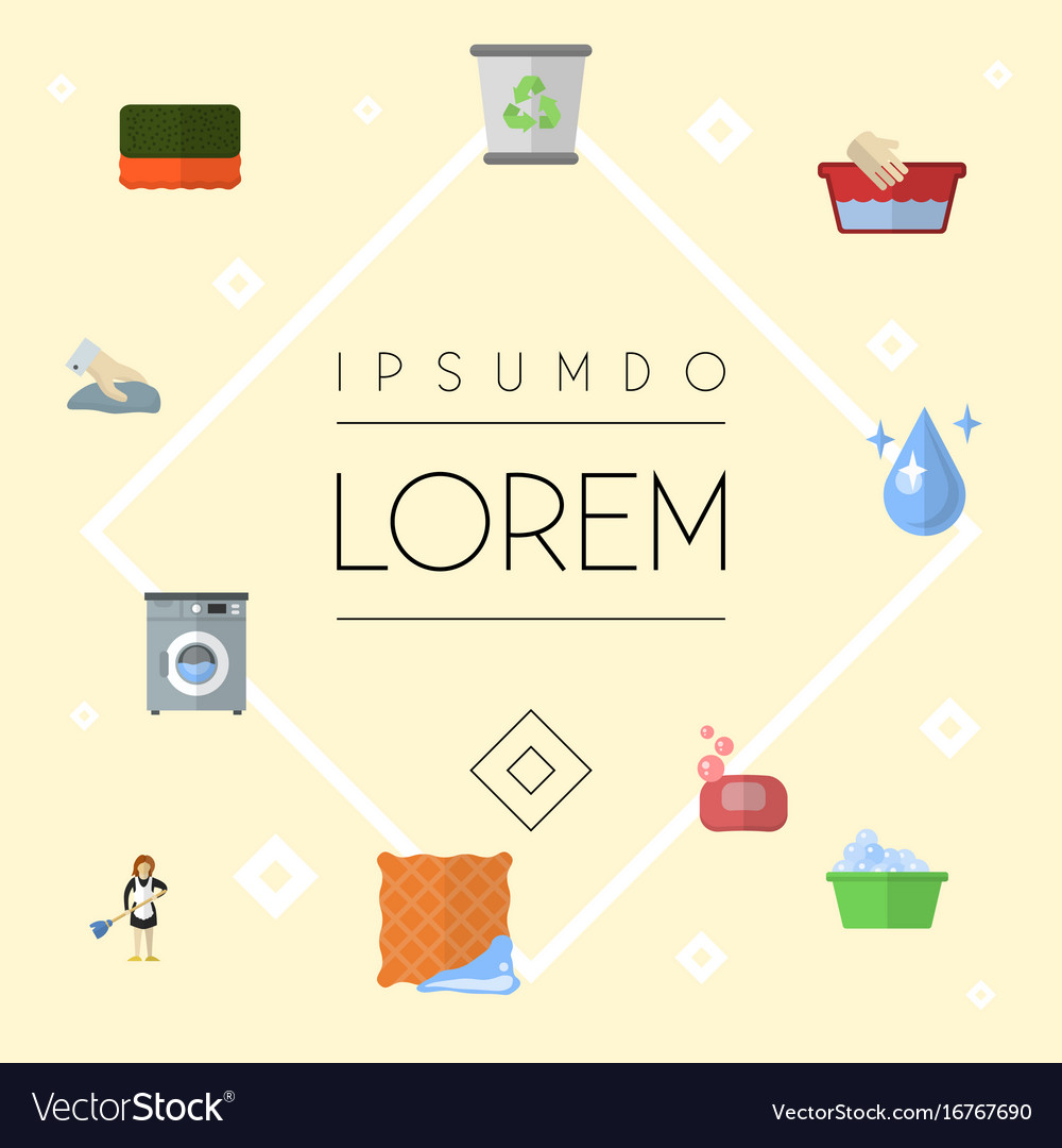 Flat icons wisp aqua housewife and other vector image