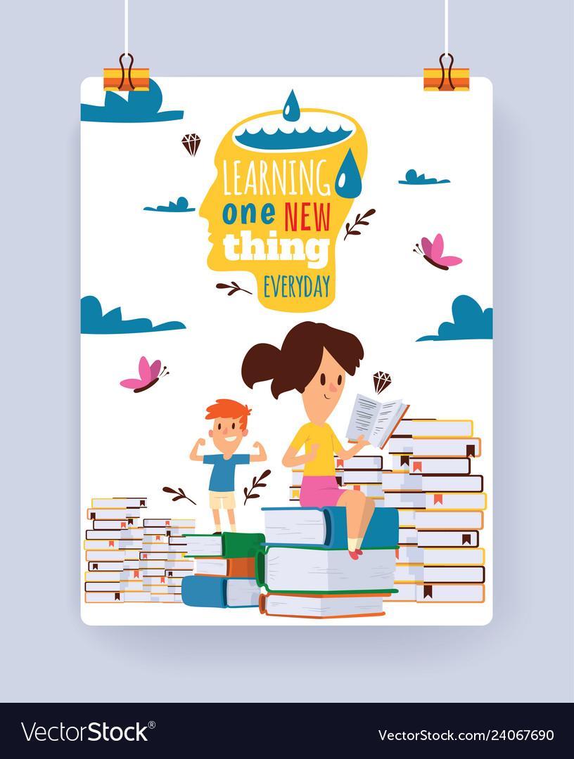 Kids reading books child character boy girl read