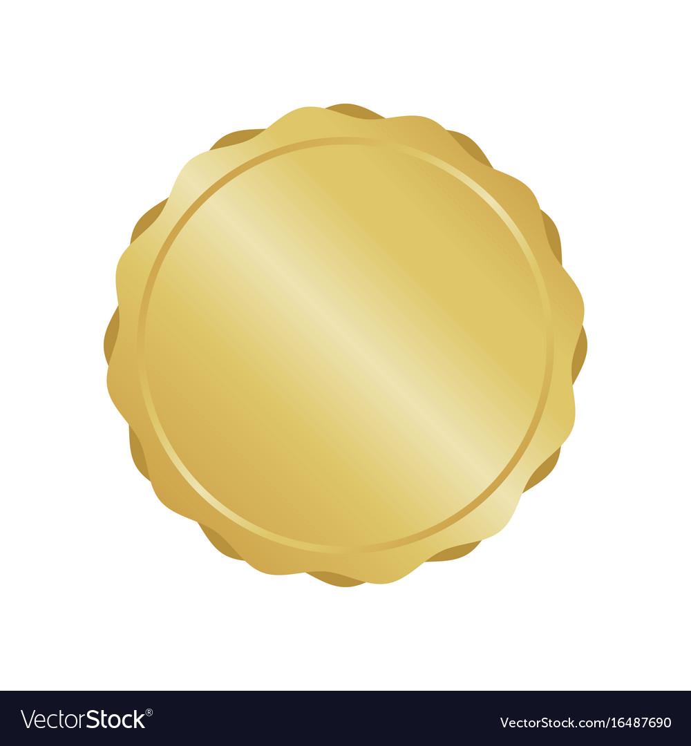 Modern gold circle metal badge label and design