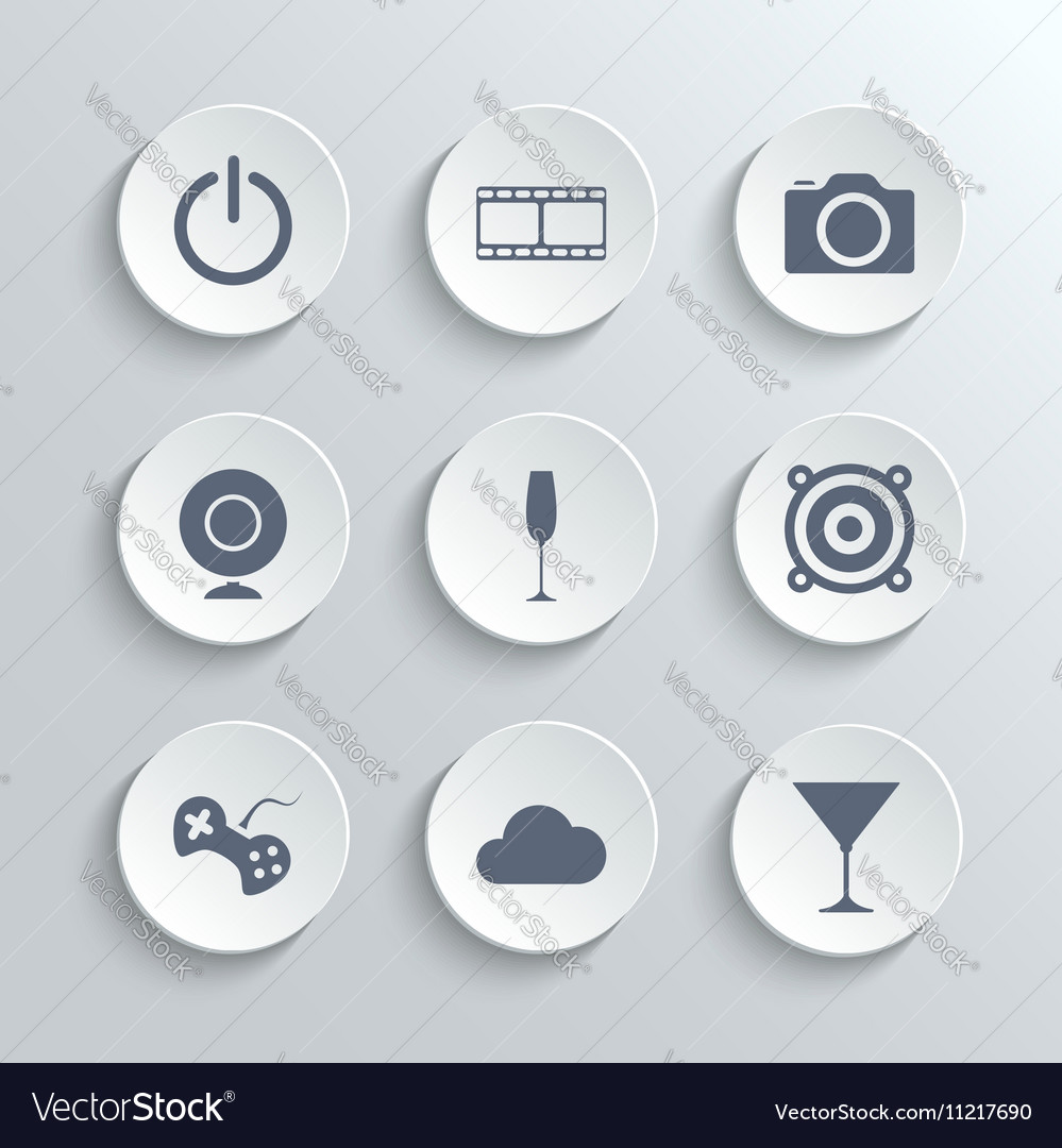 Multimedia icons set - white round buttons