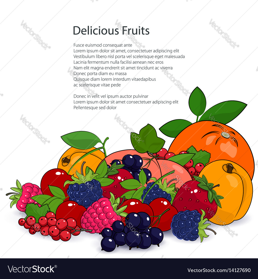 Poster juicy fruits and berries