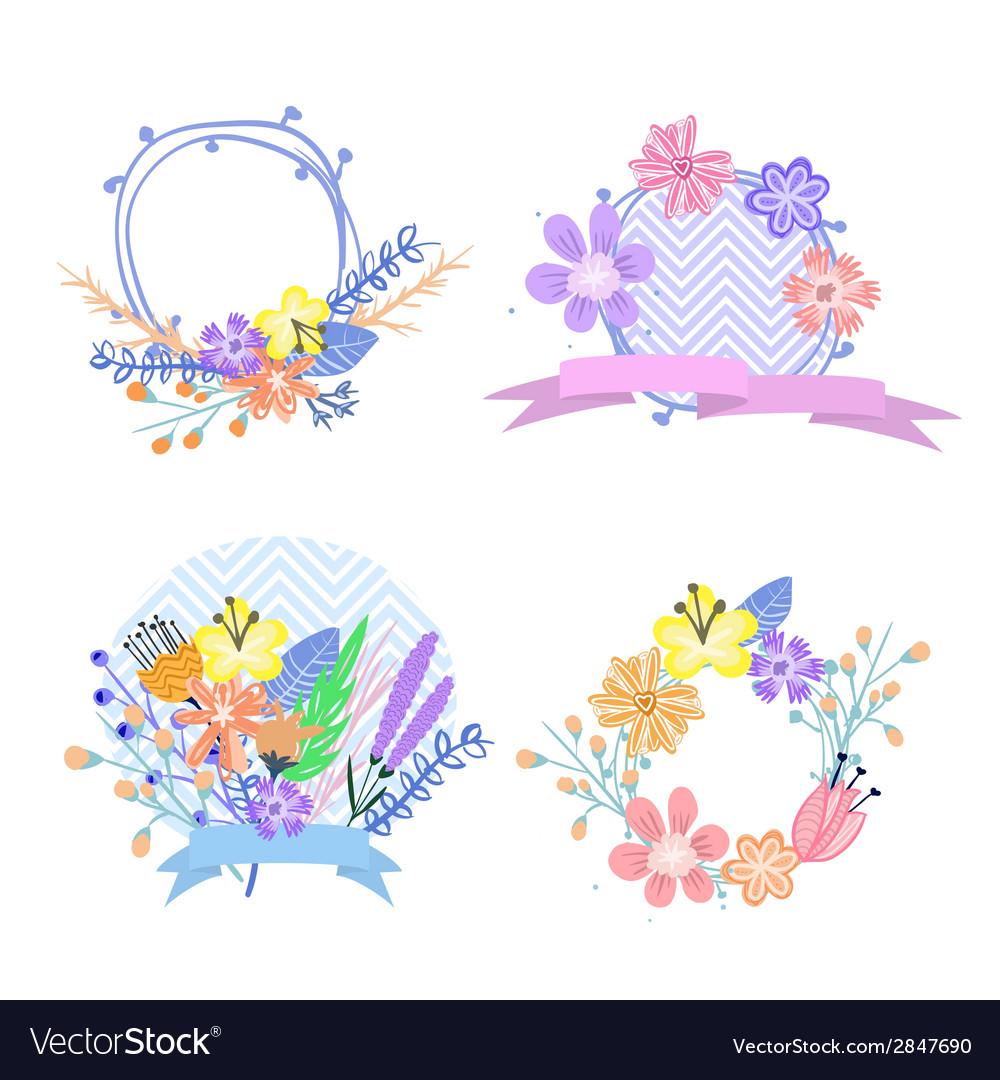 Set of flower frames and labels
