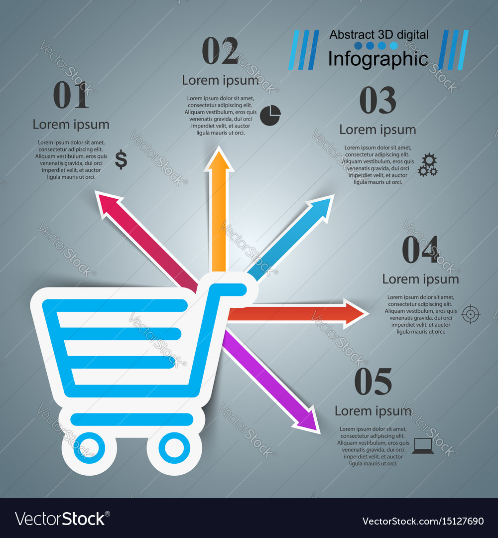 Shop infographic marceting icon buy and sell
