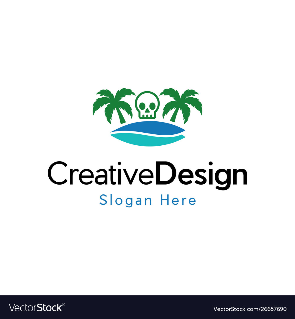 Skull surf vacation creative logo vector image