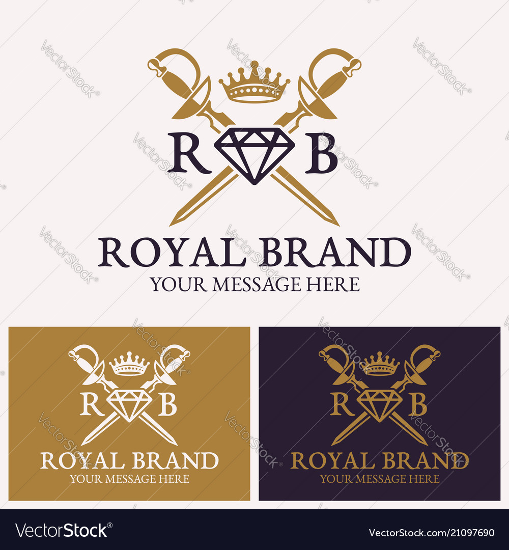 Two crossed swords and diamonds with crown logo