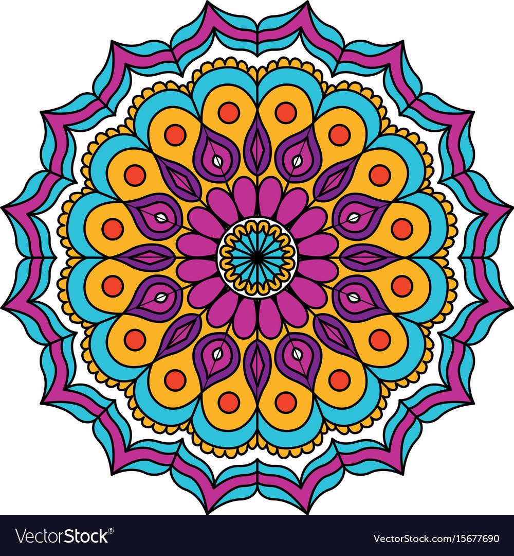 White background with colorful flower mandala