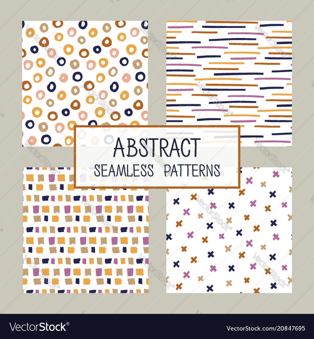 Abstract collage seamless patterns set