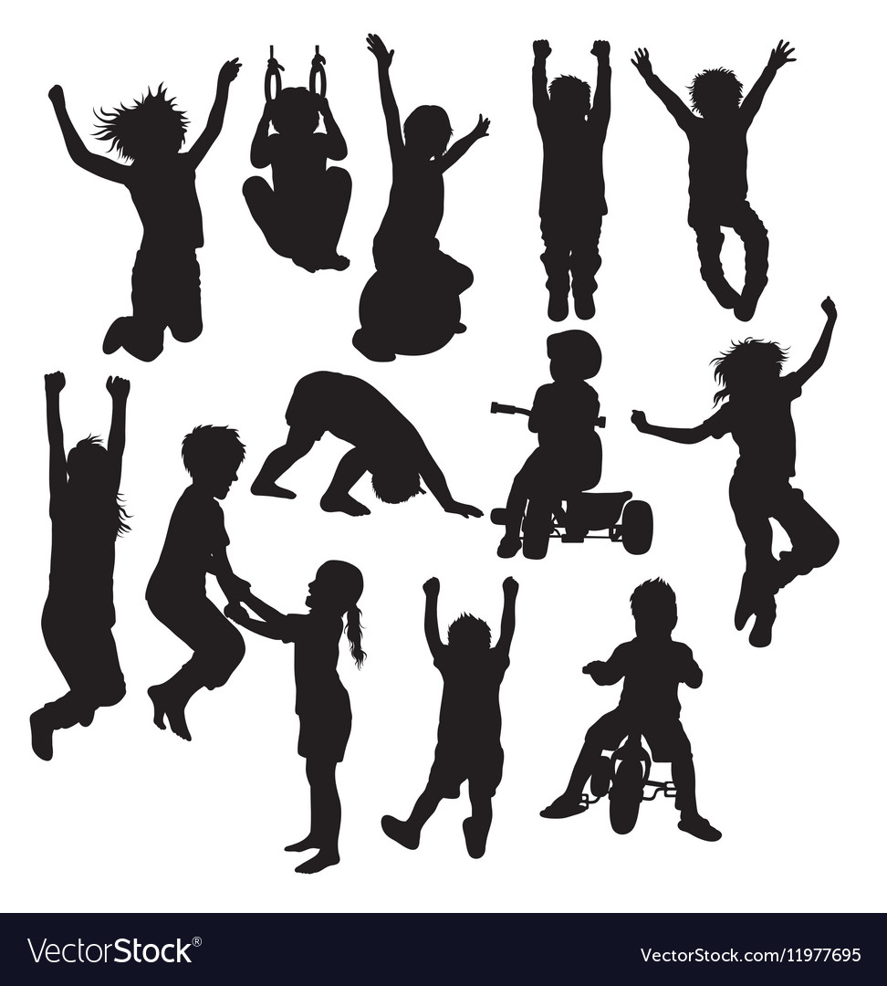 Children Plying Activity Silhouettes