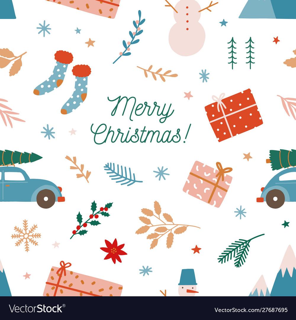 Christmas holiday flat seamless pattern