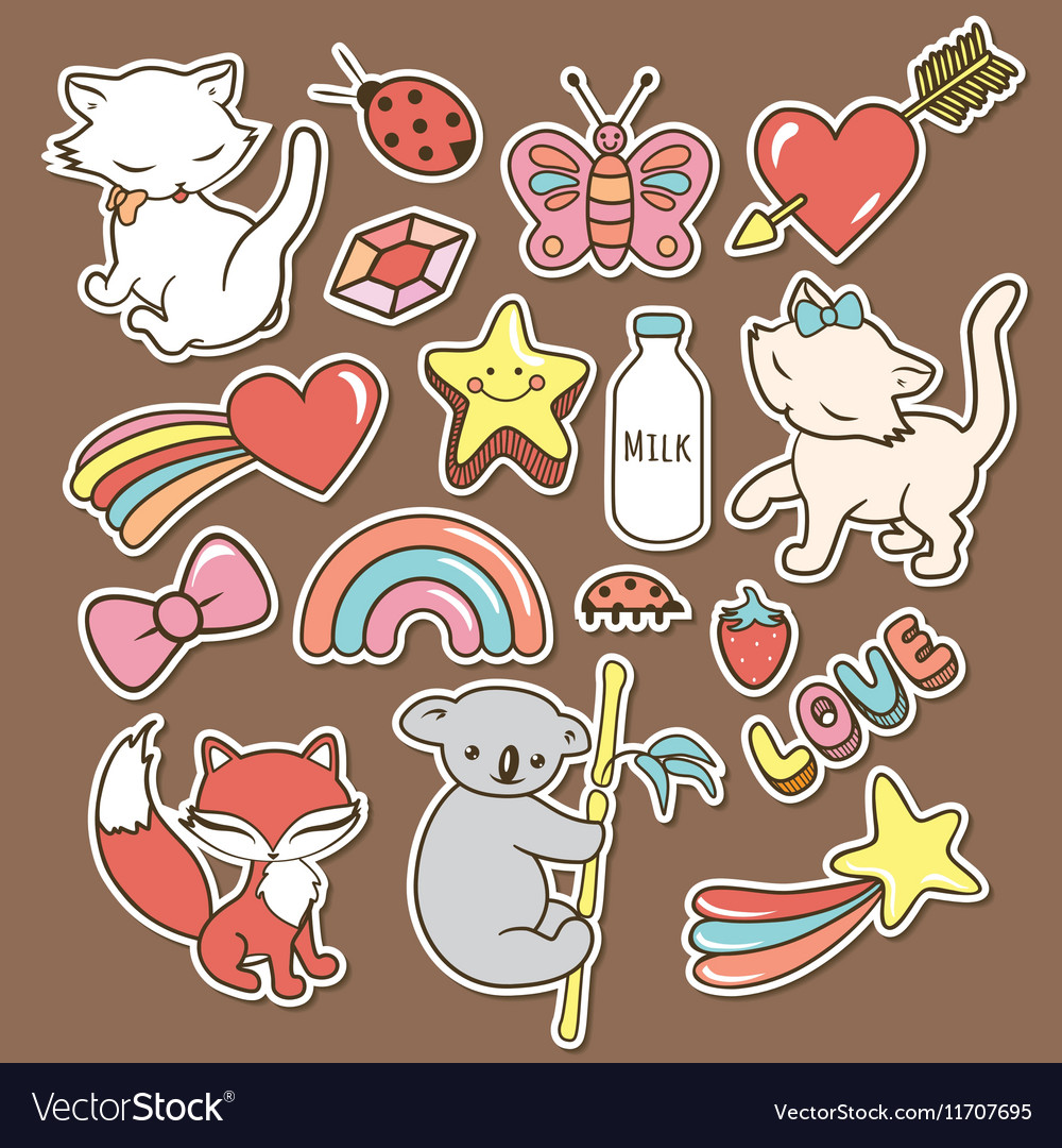 Cute stickers collections isolated with white vector image