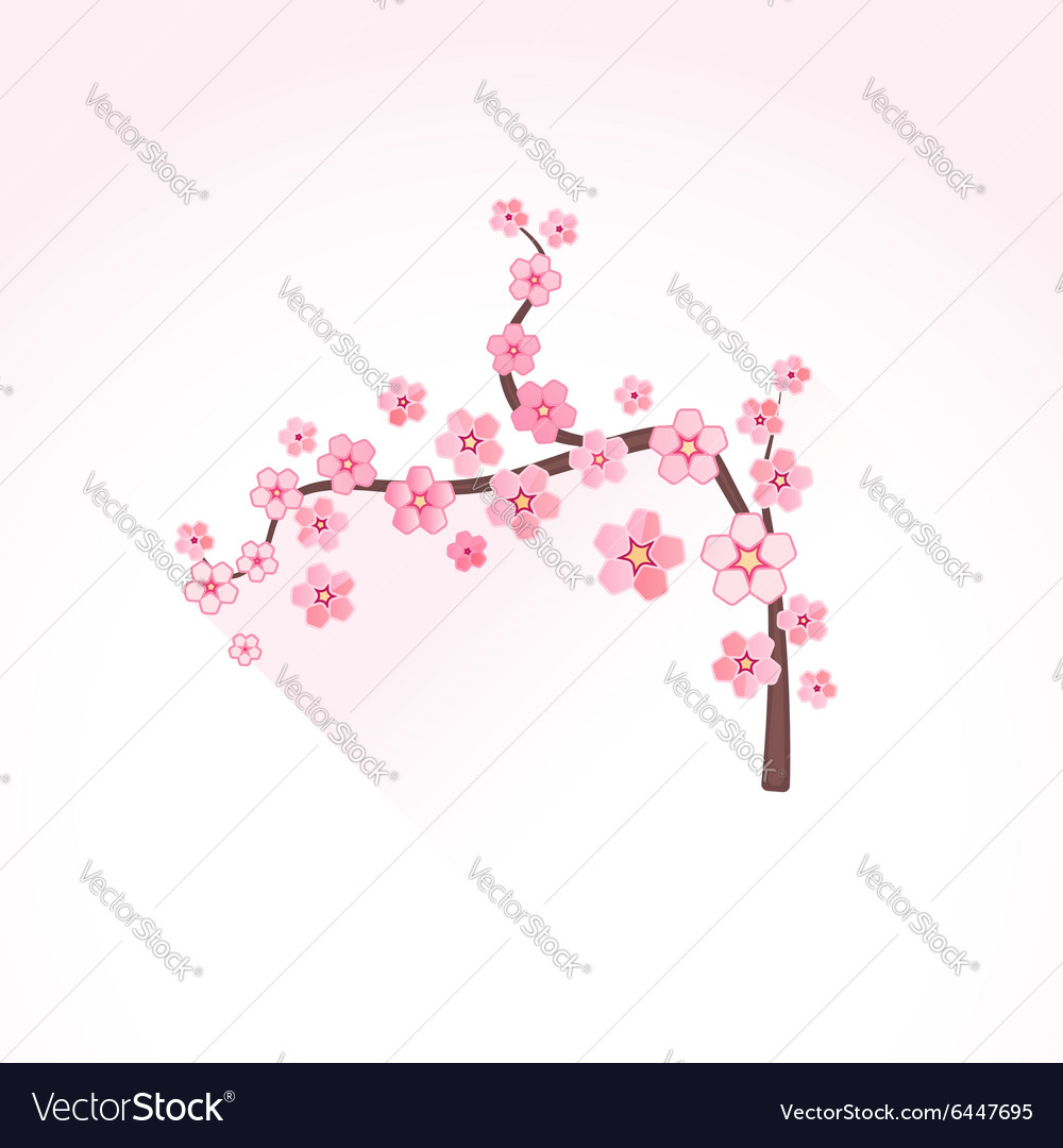 Flat abstract blossom sakura branch icon