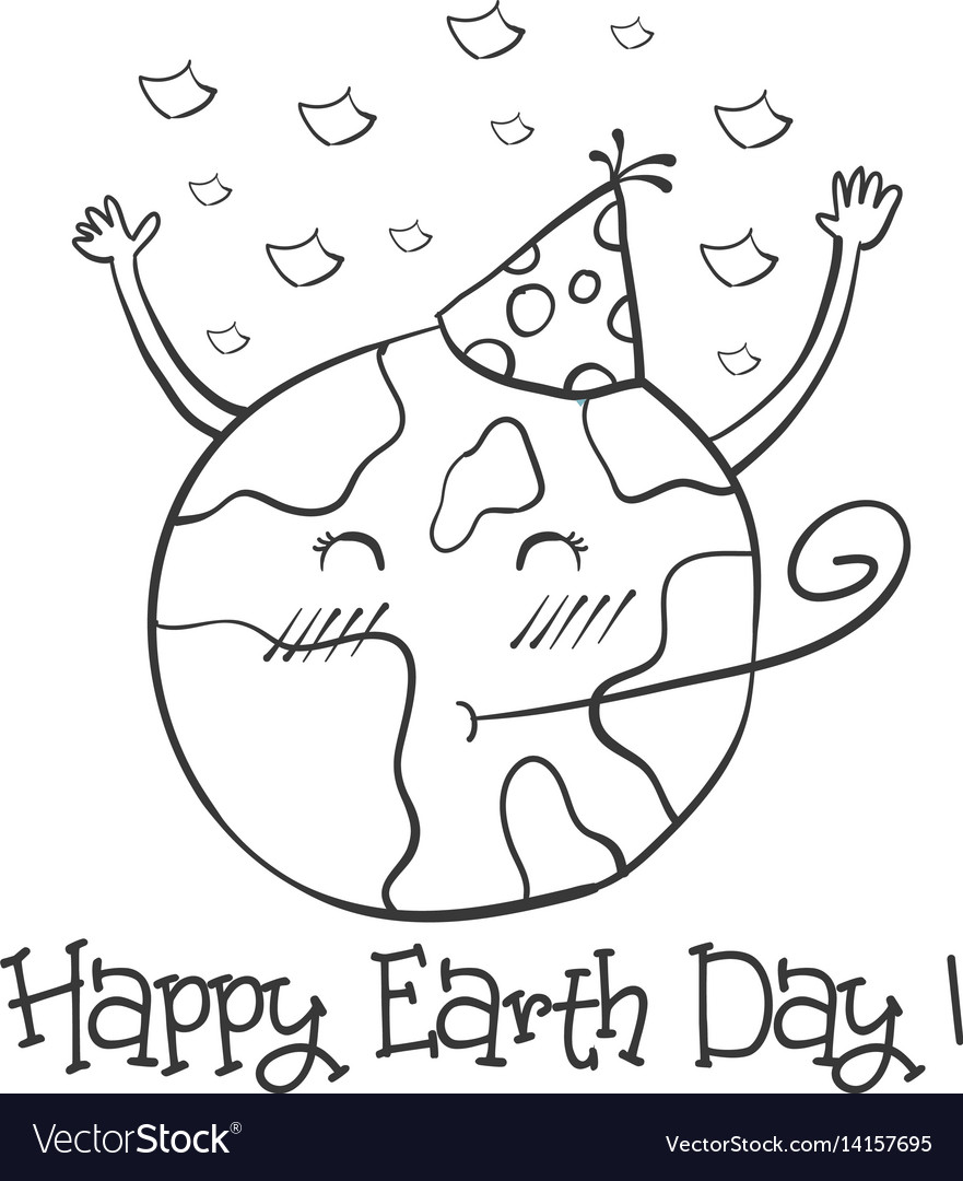 Hand Draw Earth Day With World