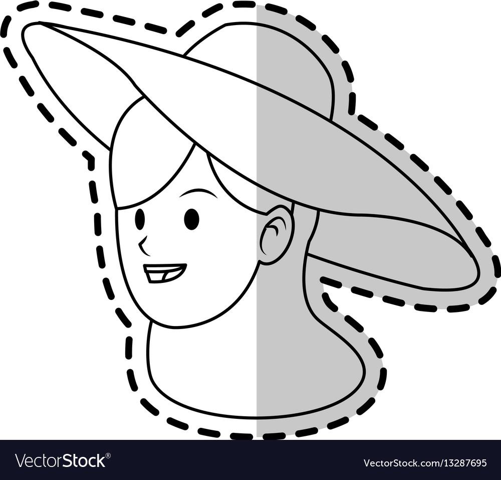 Happy pretty woman with big sun hat icon imag vector image
