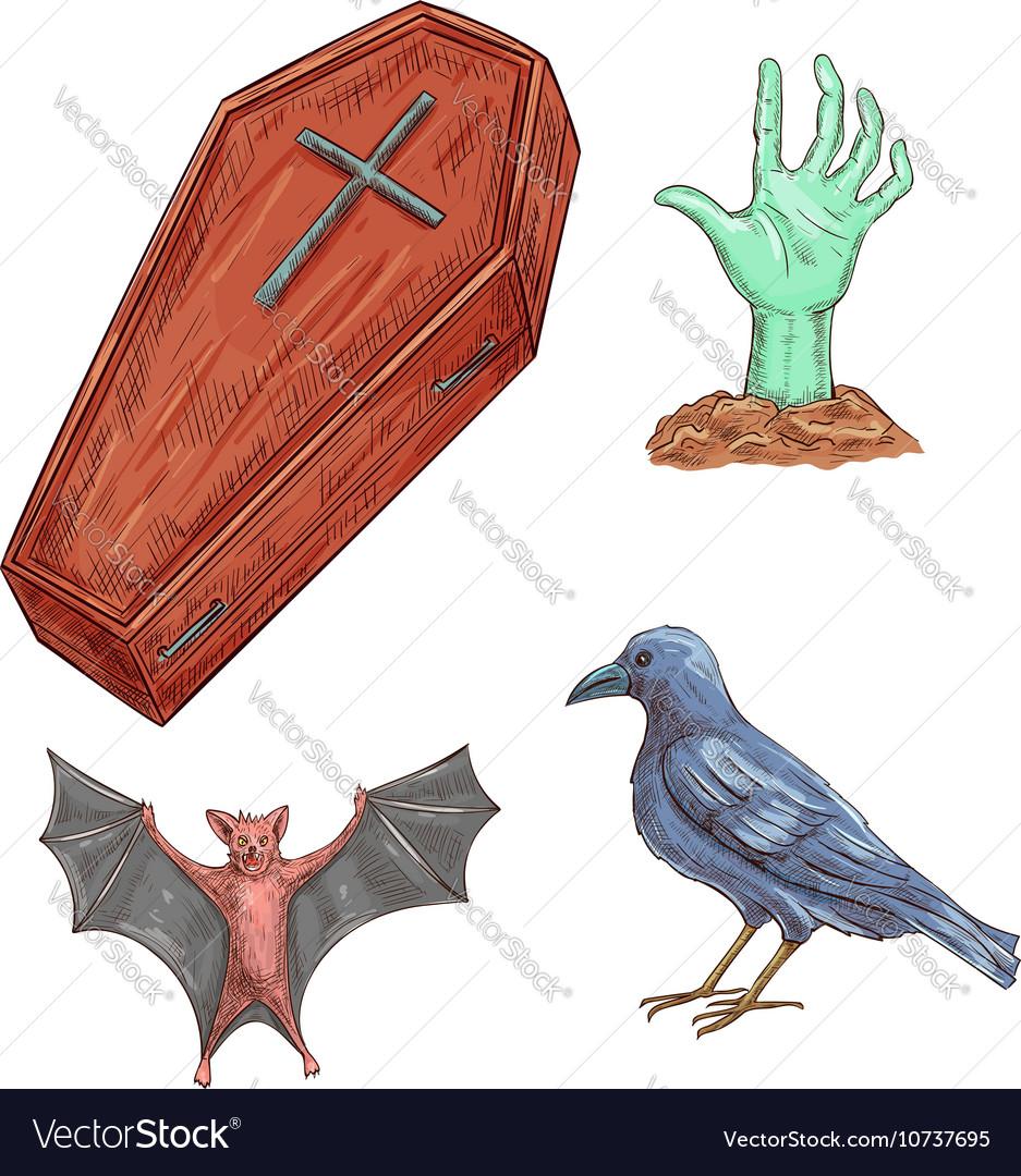 Set of Halloween decoration elements