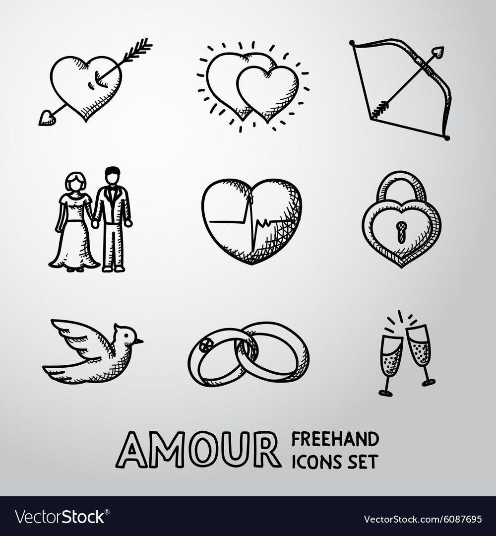 Set of handdrawn Love Amour icons - heart with vector image