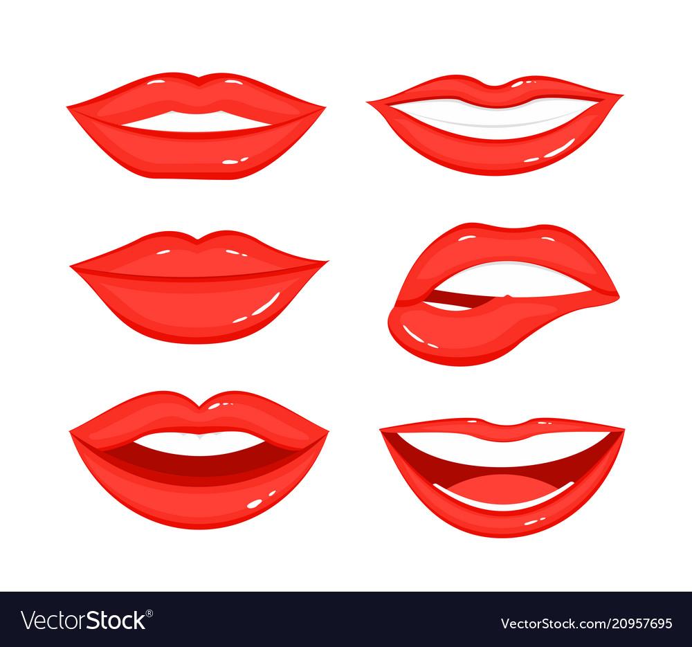 Set of woman s lip gestures