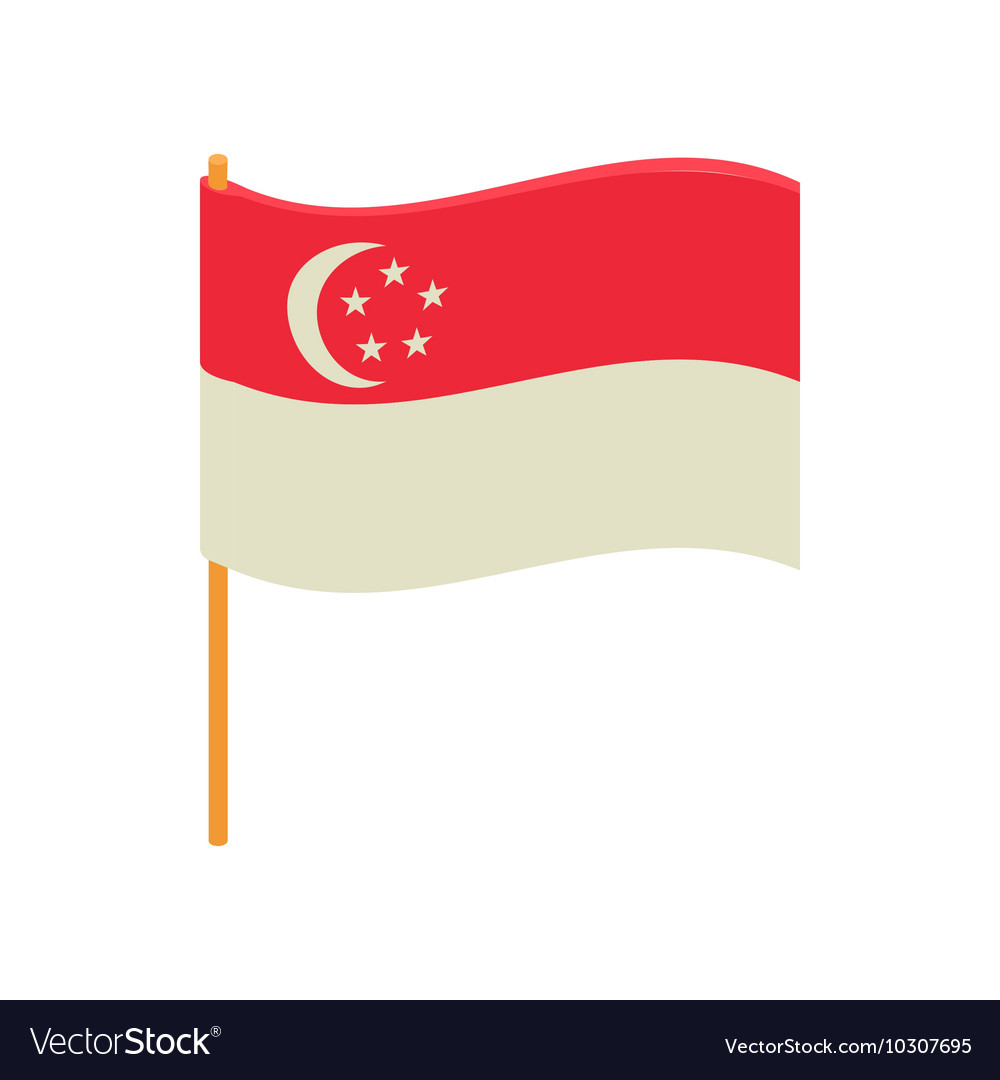 Singapore flag icon cartoon style
