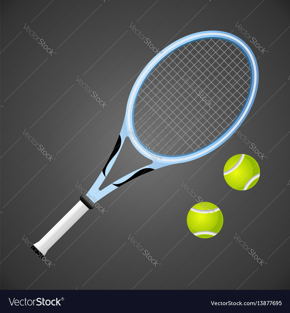 Tennis racket and balls isolated on dark
