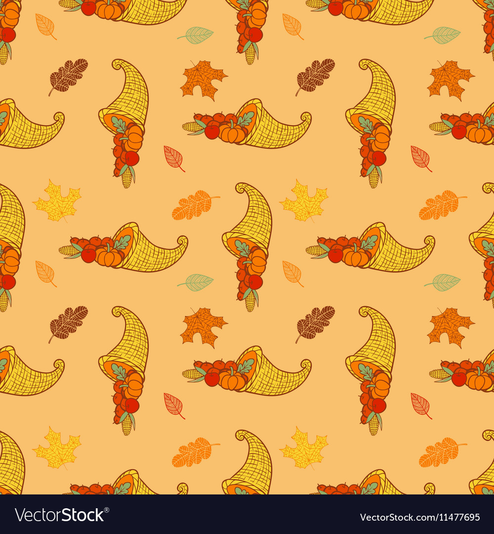 Thanksgiving festive seamless background vector image