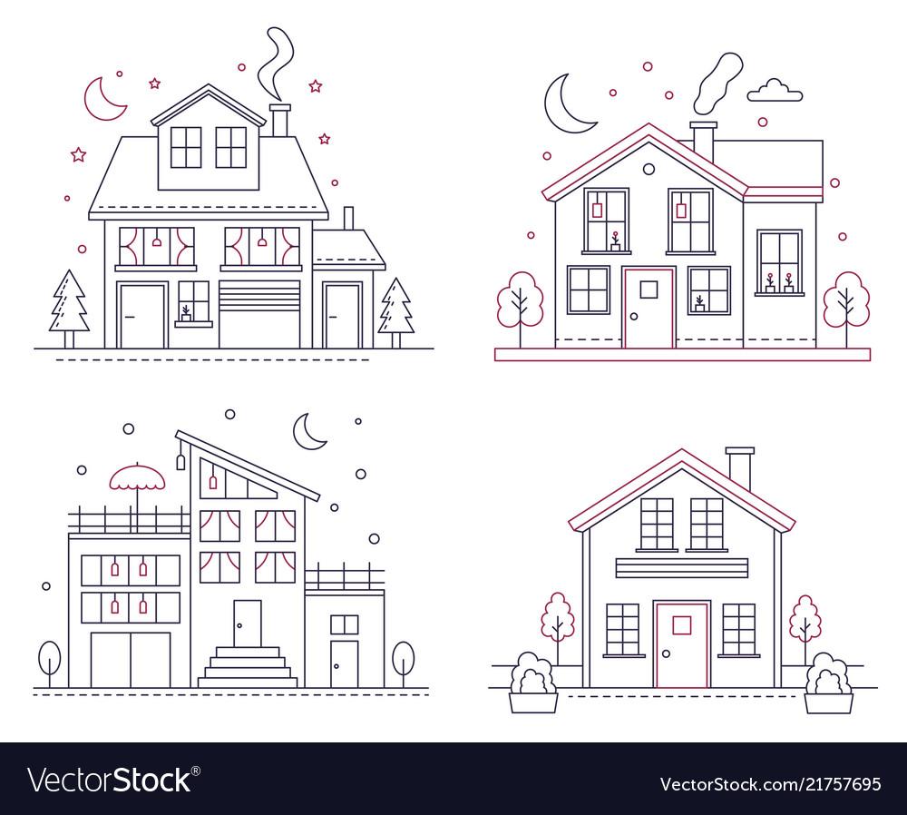Thin line icon suburban american houses