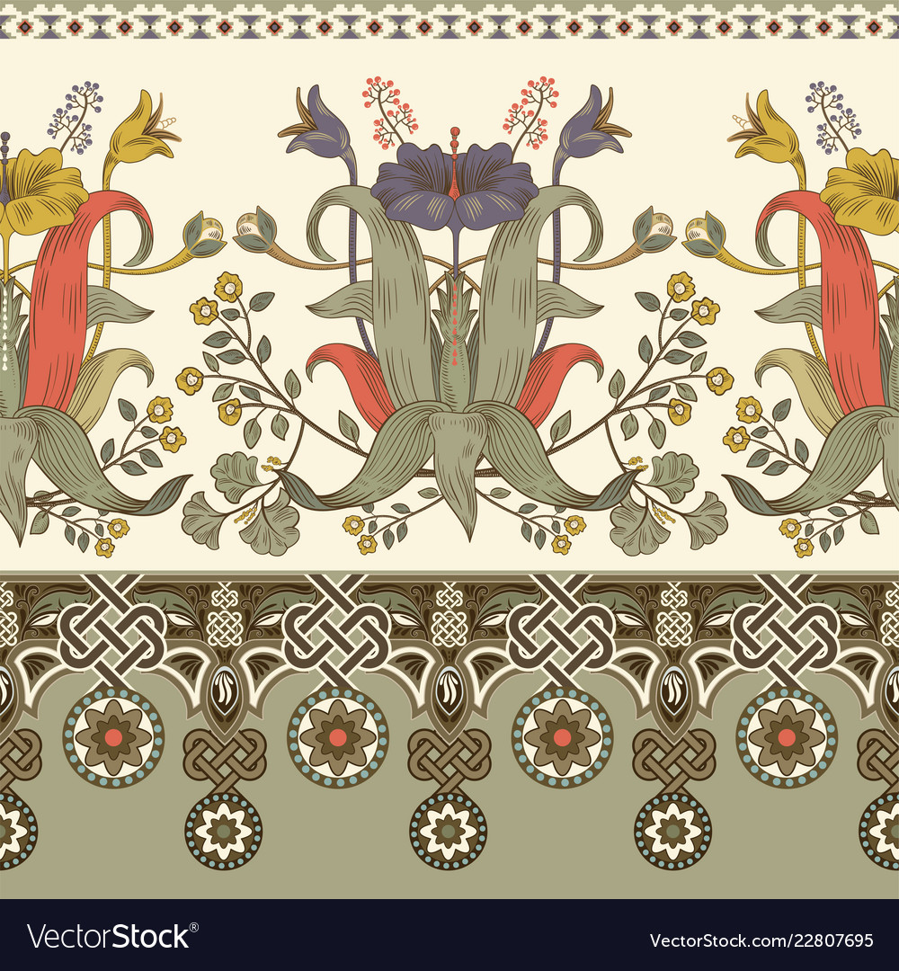 Vintage floral border seamless pattern