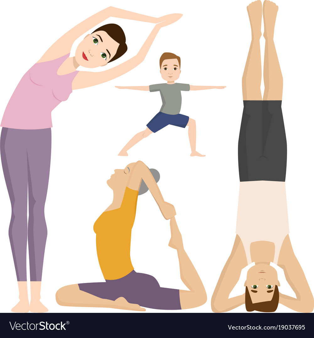 Yoga positions characters class meditation people vector image
