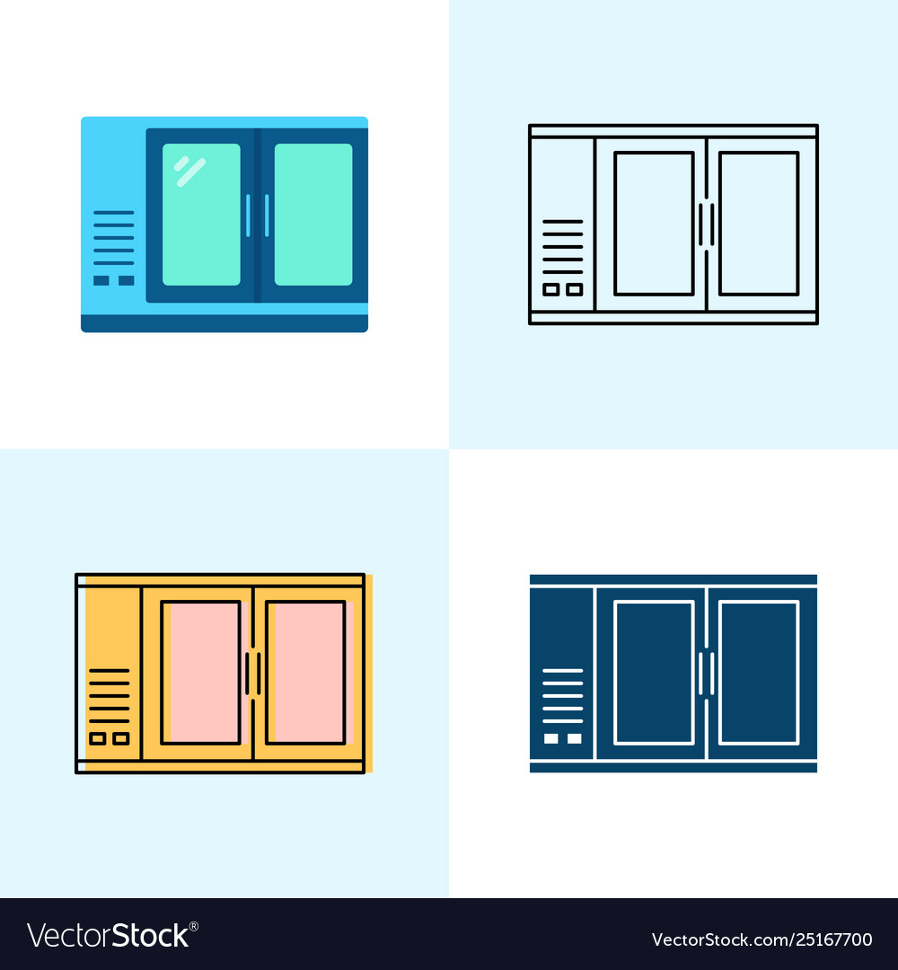 Bar refrigerator icon set in flat and line styles