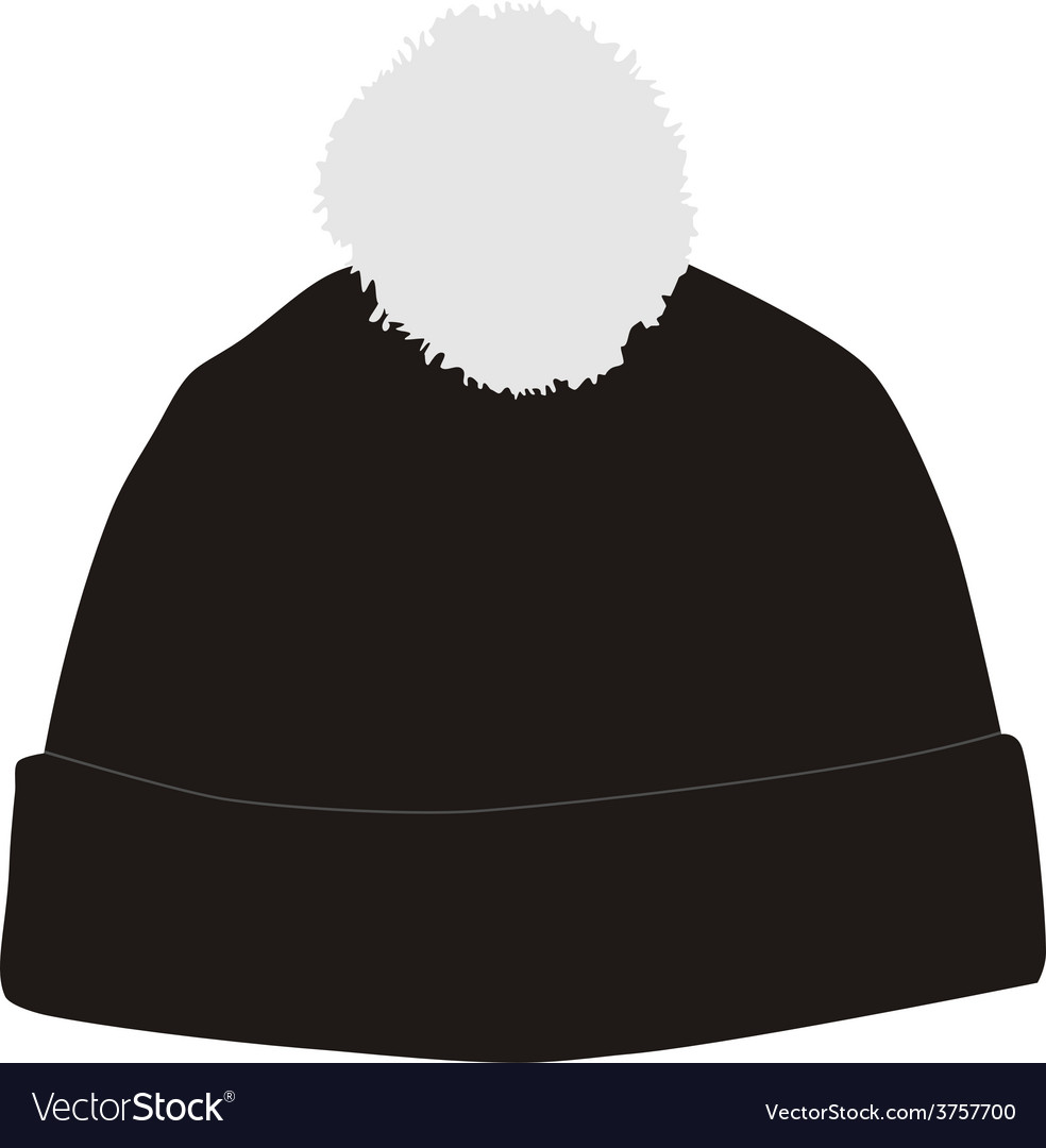 Black winter hat with pompom Royalty Free Vector Image 966bf8046d9d